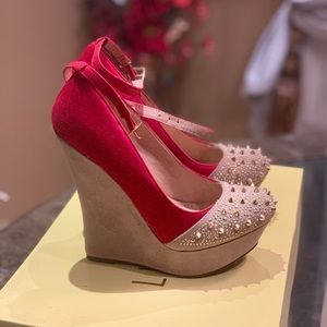 Liliana Red and Tan Studded Spiked Wedge Heels